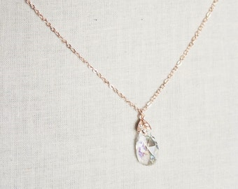 Handmade Rose Gold Necklace Rose Gold Teardrop Necklace Rose Gold CZ Necklace Cubic Zirconia Necklace Crystal Teardrop Pendant Bridal