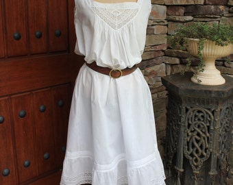 Antique Edwardian Cotton Night Gown Dress with Embroidery and Lace