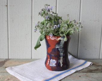 Vintage Artist Signed Rustic Hand Thrown Studio Redware Pottery Vase with Slip Glaze