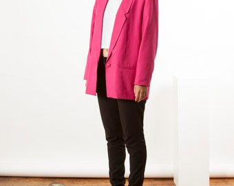 Pink Structured Blazer / Bold Long Sleeve Spring Coat / Vintage Boyfriend Blazer