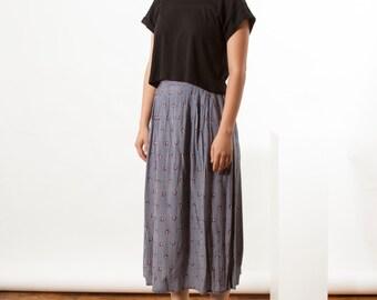 Plaid Pleated Skirt / Spring Midi Skirt / Circle Day Dress