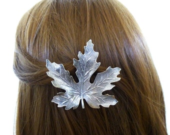 Bridal Hair Clip Wedding Barrette Bride Bridesmaid Silver Maple Leaf Autumn Fall Rustic Woodland Wedding Accessories Womens Gift For Her