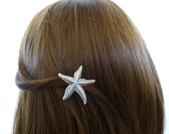 Nautical Hair Clip Silver Starfish Barrette Sea Star Nature Ariel Mermaid Girls Costume Beachy Beach Wedding Accessories Womens Gift For Her