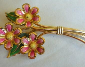 Vintage ART DECO PINK Enamel Flower Brooch Pin