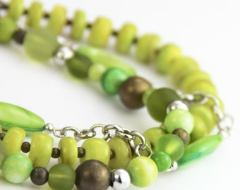 Mixed Greens Bracelet - Multi Green Olive Lime Chartreuse Kelly Green Silver Antique Gold Brass Beaded Multi Strand Bracelet
