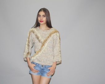 Vintage 80s Boho Neutral Rabbit Fur Knit Sweater    - Vintage Fur Sweater  - Vintage Sweaters  -  WT0457