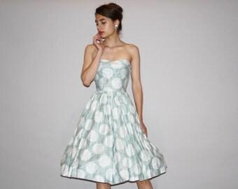 1950s Pastel Seafoam Blue Polished Cotton Strapless Atomic Graphic Print Party Dress - 50s Blue Dress - Blue Wedding Dress  - 4014