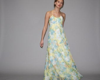 1960s Pastel Floral Backless Maxi Dress -  Floral Maxi Dress - Floral Wedding Dress  - WD0670