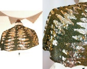 1920s 1930s Sequin Cape. Art Deco Capelet. Covered in gold beads and metallic sequins. Party. Wedding. Bridal.