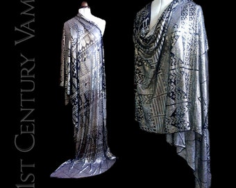 Antique Assuit Shawl. Outstanding, heavily silvered. Egyptian Revival. Art Deco. 1910s. 1920s.