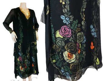 1920s Flapper dress. 20s RARE hand Stencilled silk dress with Painted Climbing Roses and Gold Lamé Lace collar & cuffs. Art Deco. Jazz Age.