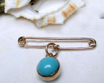 14k Yellow Gold Safety Pin with Turquoise Pin Brooch 1.93g