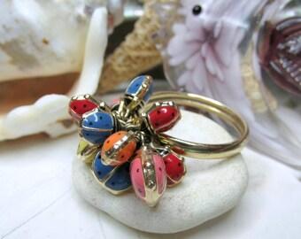 Ladybug Ring 14k Gold Size 9 Enamel Movable 3D 2.6g