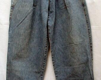 Vintage Cosi Classic Jeans Baggy Pleated Medium Rise 100 percent Cotton Denim Medium Blue Handmade Greek Designer Jeans