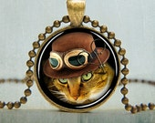 Steampunk Cat Necklace - Steampunk Jewelry - Cat Jewelry - Animal Art Pendant - Cat Pendant | No. 5004