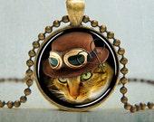 Steampunk Cat Necklace - Steampunk Jewelry - Cat Jewelry - Animal Art Pendant - Cat Pendant | No. 5004