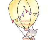 Fly Away Pink --  Nursery Art, child wall art, boy nursery, girl nursery,bunny rabbit, elephant