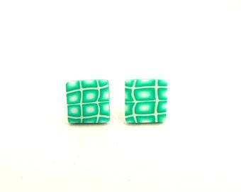 Green Square Stud Earrings, Hypo Allergenic, Fimo, Millefiori, Studs, Supremily Jewellery