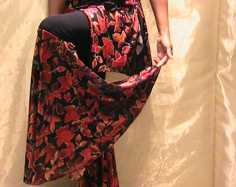 ATS, Tribal, Festival and Flamenco Flare Pants & skirt Set  in Black Lycra with flocked velvet Fall Maple leaf flares