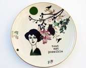 Antique plate with Emilienne (tout est possible - everything is possible) #1625