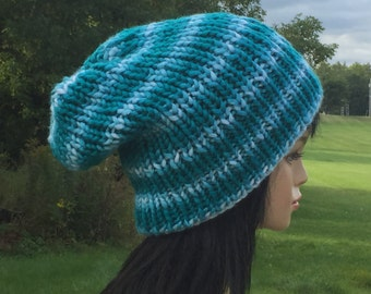 Blue Rasta Hat / Slouchy Beanie / Dread Hat / Knit Slouch Beanie / Dreadlock Cap / Chunky Beanie / Blue Dreadlock Hat / Ready to Ship