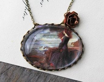 Miranda and The Tempest Necklace. John William Waterhouse. (magnifying pendant art book illustration jewelry antique romantic jewellery)