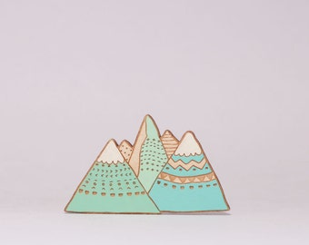 Mountain Brooch hand painted wooden brooch
