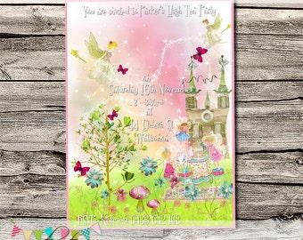 Unicorns & Fairies High Tea Pink - Birthday Party or Wedding Invitation - Printable - DIY - Digital File