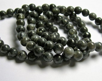 Larvikite - black labradorite - 8mm round beads - 23 beads - 1 set - A quality - HSG6
