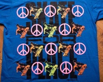 1989 Skate for Peace T-Shirt, Punk Grunge Skater Apparel, Vintage 80s