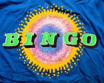 Bingo T-Shirt, Classic Game, Bright Neon Color Graphic Tee, Vintage 90s