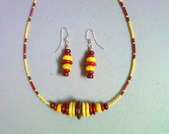 Yellow, Red and Brown Necklace and Earrings (0212)