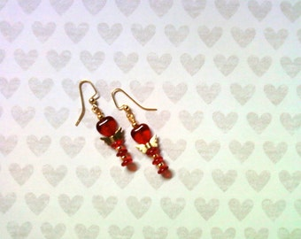 Red and Gold Valentine Earrings (1803)