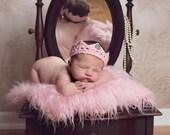 Newborn Girl Crown/ Pink Princess Crown/ Baby Girl Crown/ Rhinestone Crown/ Baby Girl Prop/ Baby Shower Gift/ Princess Theme