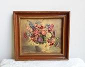 Vintage Floral Still Life Art Print on Board by Henk Bos, Pot of Flowers, Gold Burnt Sienna Wood Frame