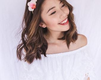 orchid cat ear flower crown headband / creamy pink // wedding bridal, spring racing flower crown headband fascinator, floral headpiece