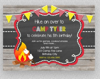 Camping invitation, Camping party invitation,  Camping birthday party, campout sleepover invitation