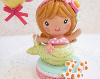 Available-  Mermaid Under the Sea Birthday Cake Topper Decoration Keepsake Collectible~Cute Cake Smash for Baby~ Little Girl's Cute Birthday