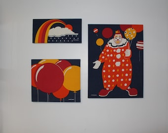 Set of Three Vintage Marushka Screen Prints, Art, Silkscreen, Canvas,  Clown, Balloons, Rainbow, Nursery Decor, Circus Decor