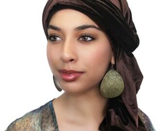 Brown Velvet Turban, Head Wrap, Chemo Hat, Alopecia Scarf, Hijab, One Piece Wrap 332-06