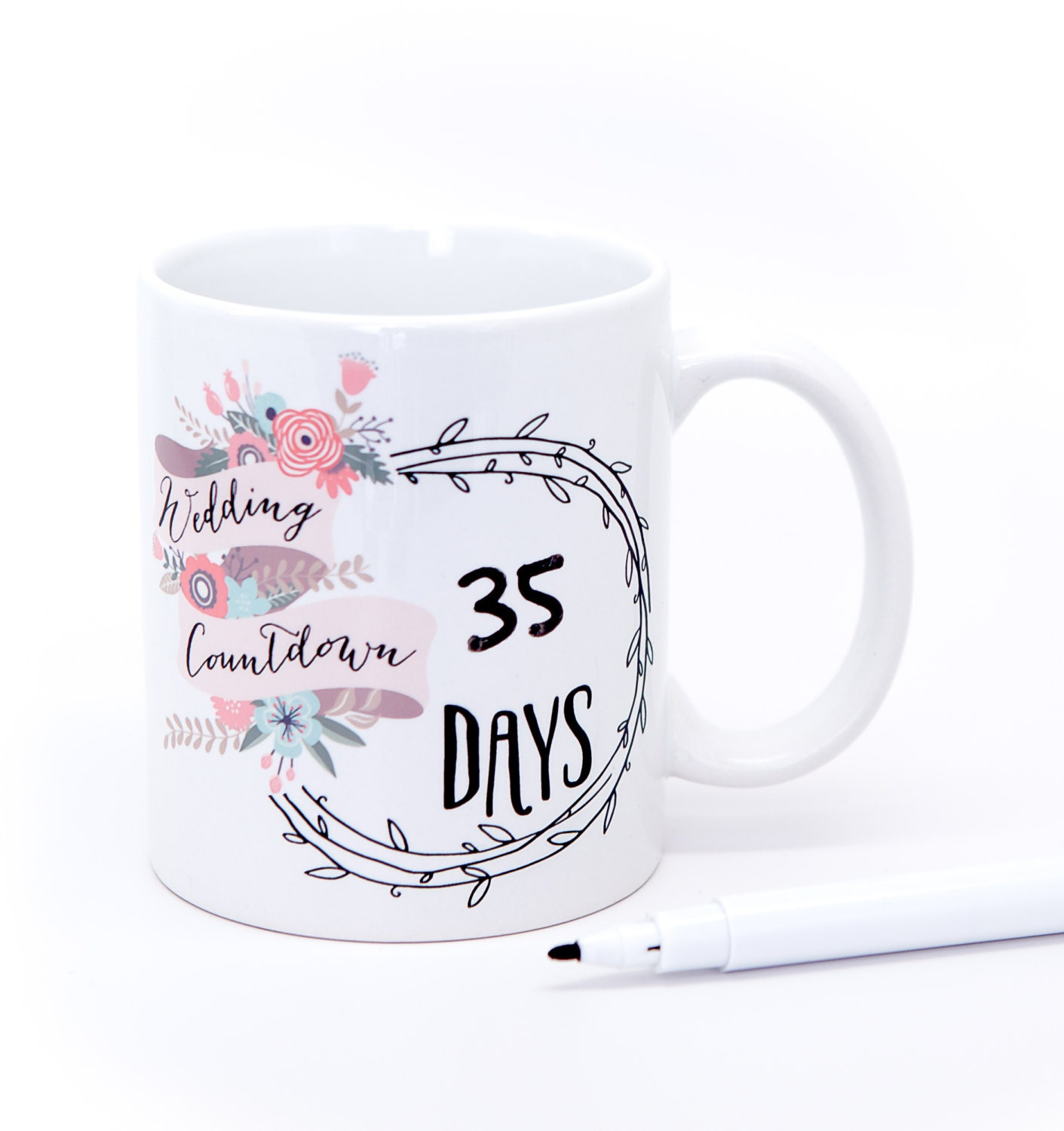 Wedding Countdown Mug Gift For Bride Gift For Her Coffee