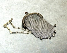 vintage mesh pouch purse - 1920s-30s art deco silver mini metal purse