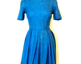 vintage wool dress - 1950s blue wool full-skirt dress
