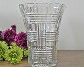 Large Vintage Glass Crystal Vase Flower Vase Vintage Glass Vase Floral Arrangement Wedding Event Decor Home Decor Country Home City Home