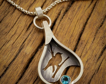 Silverwing: Hand-Fabricated Sterling Silver Shadowbox Pendant with Happy Songbird