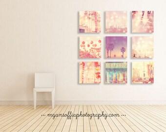 Los Angeles art prints, discount print set, LA gift set, pink wall art, Los Angeles photography, LA photos, Hollywood, baby nursery set