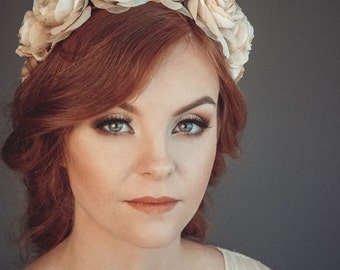 Bridal crown - Bridal flower crown - Rustic hair wreath - Floral headband - Boho wedding wreath - Wedding crown