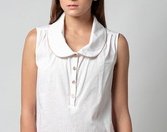 SALE, Collared top, Womens top, Sleeveless top, polka dot top, Summer top, womens blouse, Elegant top, Buttoned blouse, Peter pan collar