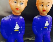 Vintage Bobble Head Nodders, Plastic Kissing Dolls, KT No.106 Made In Hong Kong Two Boys 1960s