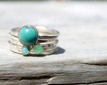 Sterling Silver Stack Ring-Gemstone Stacking Ring-Hammered Stacking Set of 5-Turquoise Ring, Amazonite Ring, Chrysoprase Ring-Blue Aqua Ring